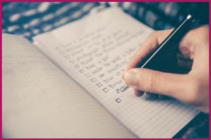 Handwritten checklist
